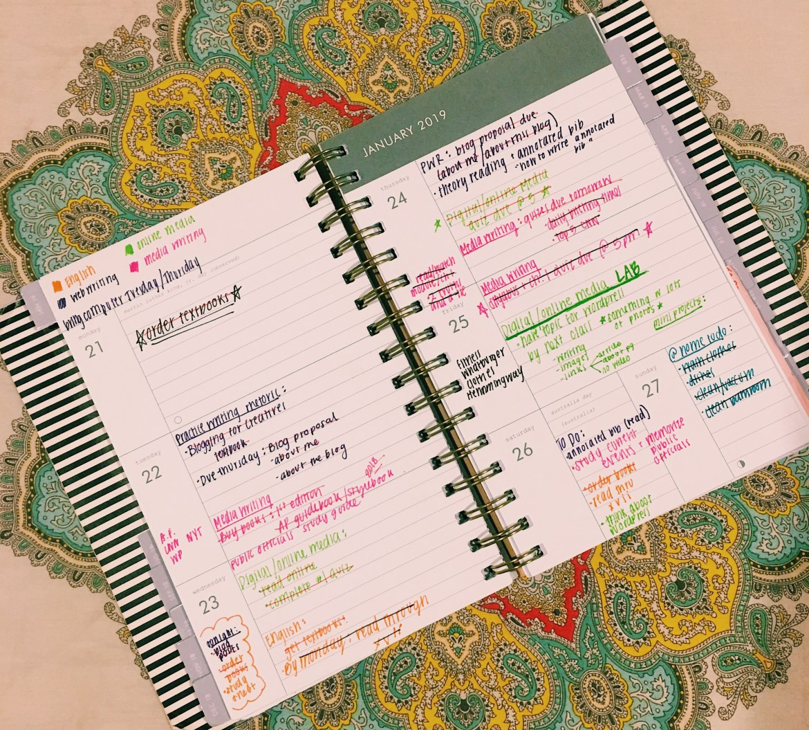 An image of what a week looks like in my planner. Multiple things written out in different colors.