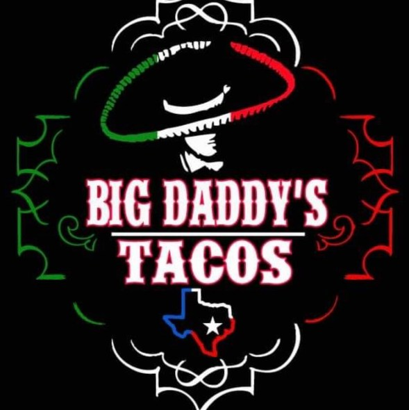 Big Daddy's Tacos logo with the colors of the Mexican flag, a small Texas logo and a man in a sombrero