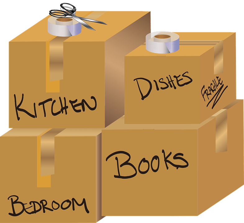 A graphic of four brown packing boxes labeled kitchen, dishes, bedroom and books