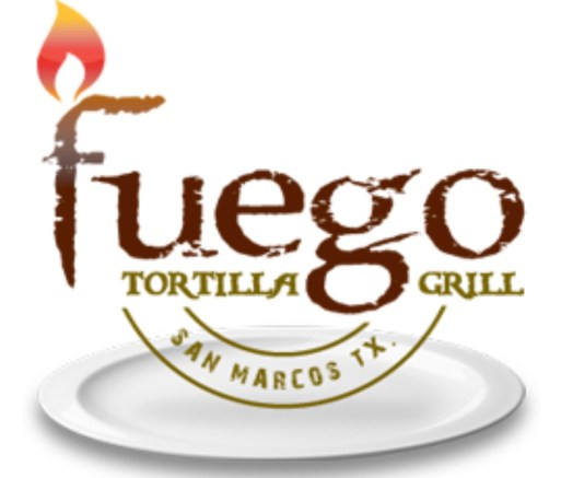 The Fuego logo on top of a white plate and a small flame above the F