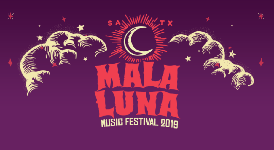 Purple, red and white graphic with a crescent moon above the words 'Mala Luna'