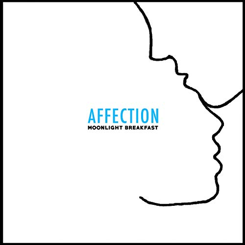 The album cover is a white background with the black outline of two connected face profiles with blue text in the center.