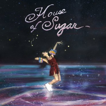 """The album cover is a painting of a figure skater skating in what appears to be a galaxy with """"House of Sugar"""" written at the top."""
