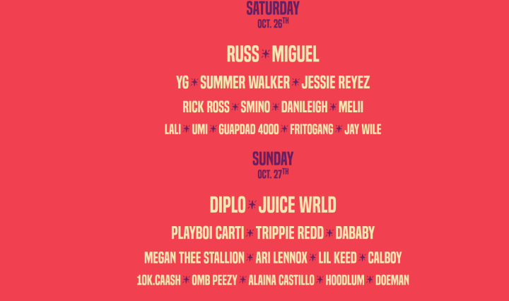 All of the artists performing each day written on a pinkish colored background