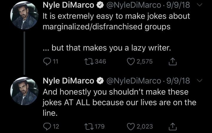 """A screenshot of Tweets from deaf model Nyle DiMarco's Twitter. They read: """"It is extremely easy to make jokes about marginalized/disenfranchised groups...but that makes you a lazy writer. And honestly you shouldn't make these jokes AT ALL because our lives are on the line."""""""