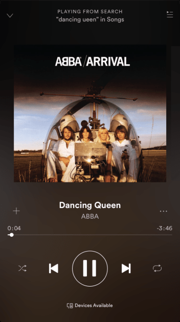 The Dancing Queen song on Spotify; band picture is of the band ABBA