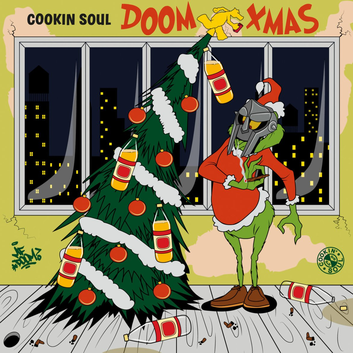 The album art displays the Grinch wearing a Doom mask as he decorates a Christmas tree with bottles of alcohol and solid red ball ornaments, all in the foreground of a city at night.