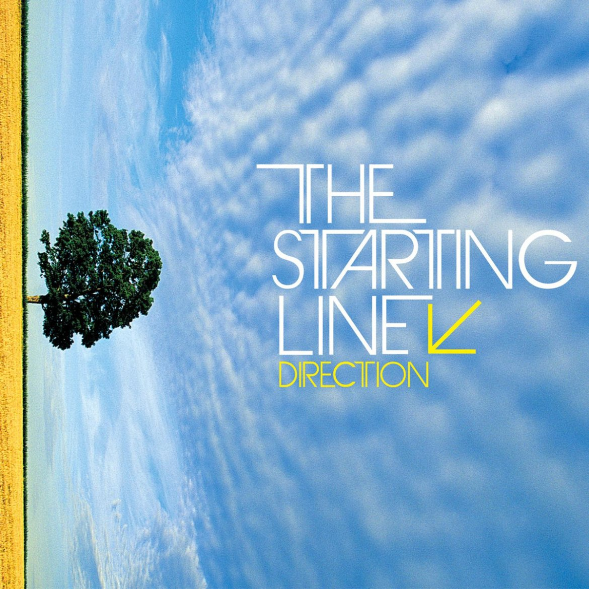 Album cover is a sideways picture of a blue sky with grass and a tree on the left side of the image. The name of the band and album are located towards the center of the image.