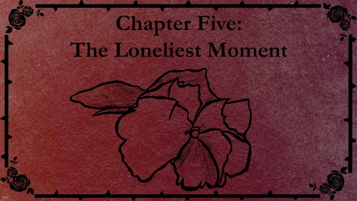Chapter Five title slate with a drawing of a violets