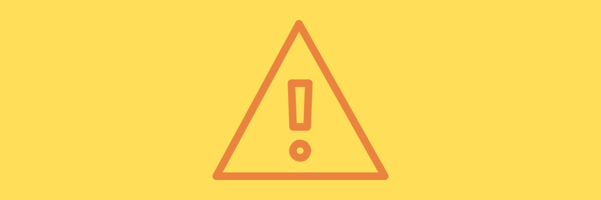 Yellow background with caution symbol