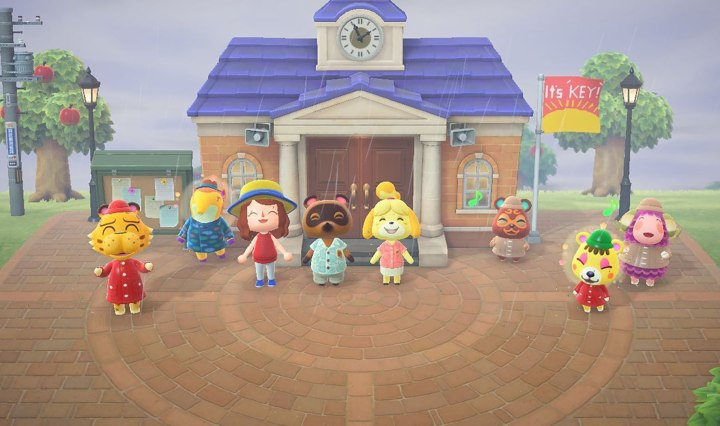 """""""Animal Crossing: New Horizons"""" screenshot of my character posing with animal villagers for a picture."""