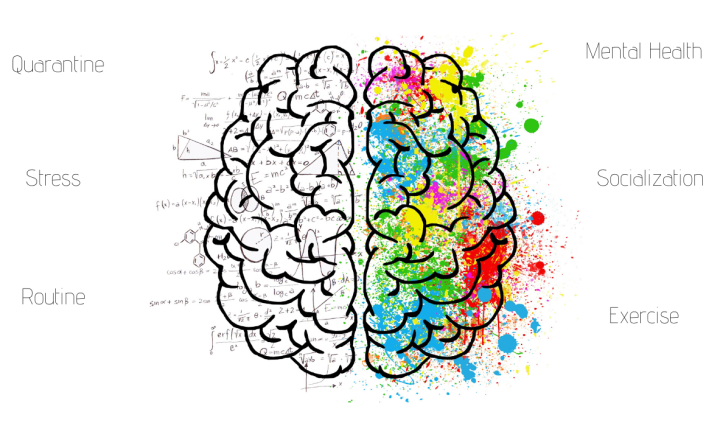 Brain split with color and numbers and words around it describing mental health.