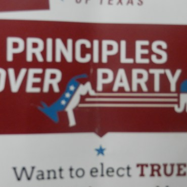 A Young Conservatives of Texas pamphlet shown up close.
