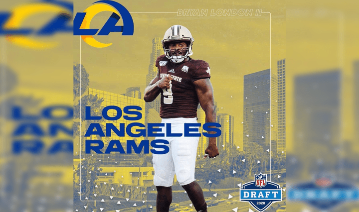 Photo of Bryan London II wearing number nine for Texas State. The graphic includes the Los Angeles Rams logo, colors, and background of the city of Los Angeles. Photo of Bryan London II wearing number nine for Texas State. The graphic includes the Los Angeles Rams logo, colors, and background of the city of Los Angeles.