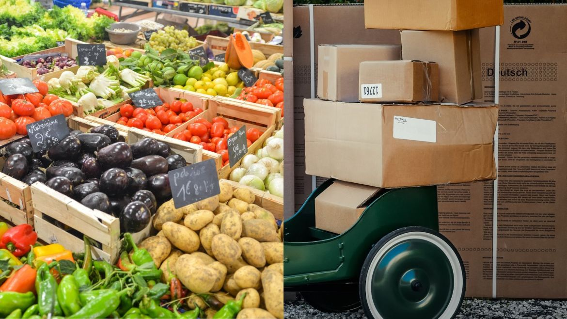 Picture of grocery cart and delivery boxes