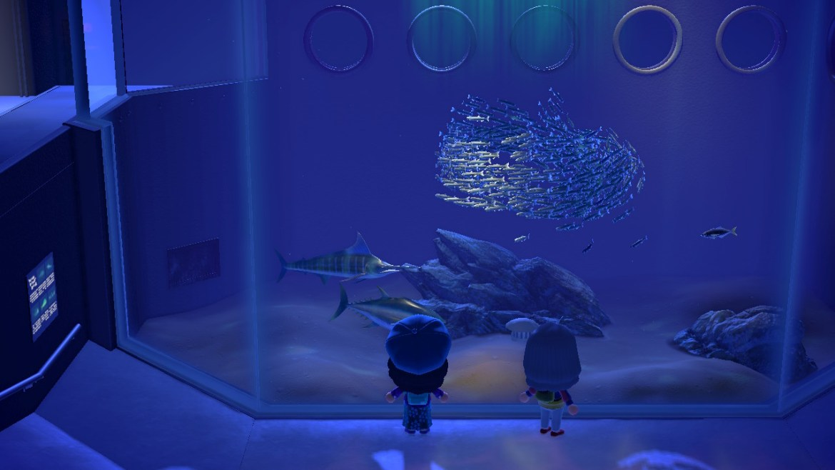 Image of two Animal Crossing characters, one with black hair and one with grey hair looking into an aquarium with different kinds of fish.