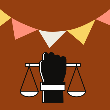 On a burnt orange background, a black hand is holding a white balancing object underneath a festival related flag