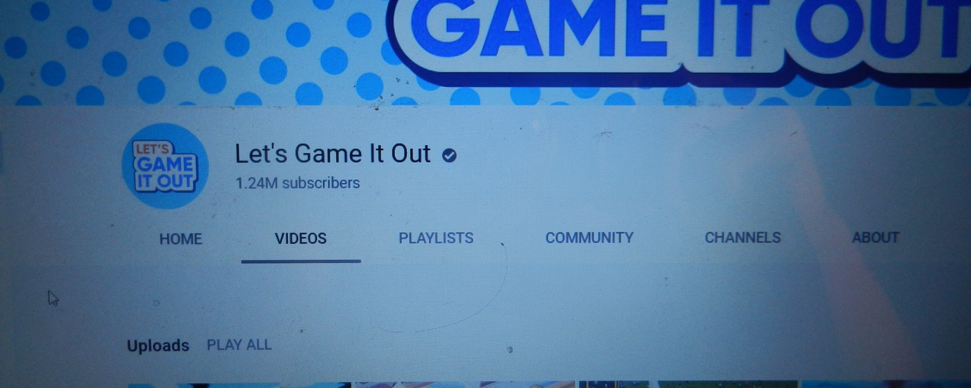 The channel homepage of Let's Game It Out!