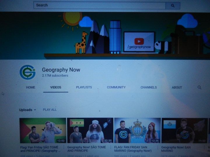 The channel homepage of Geography Now!