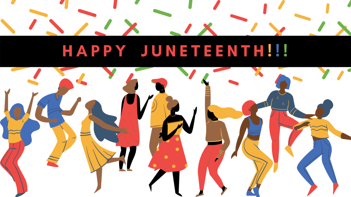 A white background with green, yellow and red confetti portraying various drawings of black people dancing and celebrating , with the words 'Happy Juneteenth' across the picture.