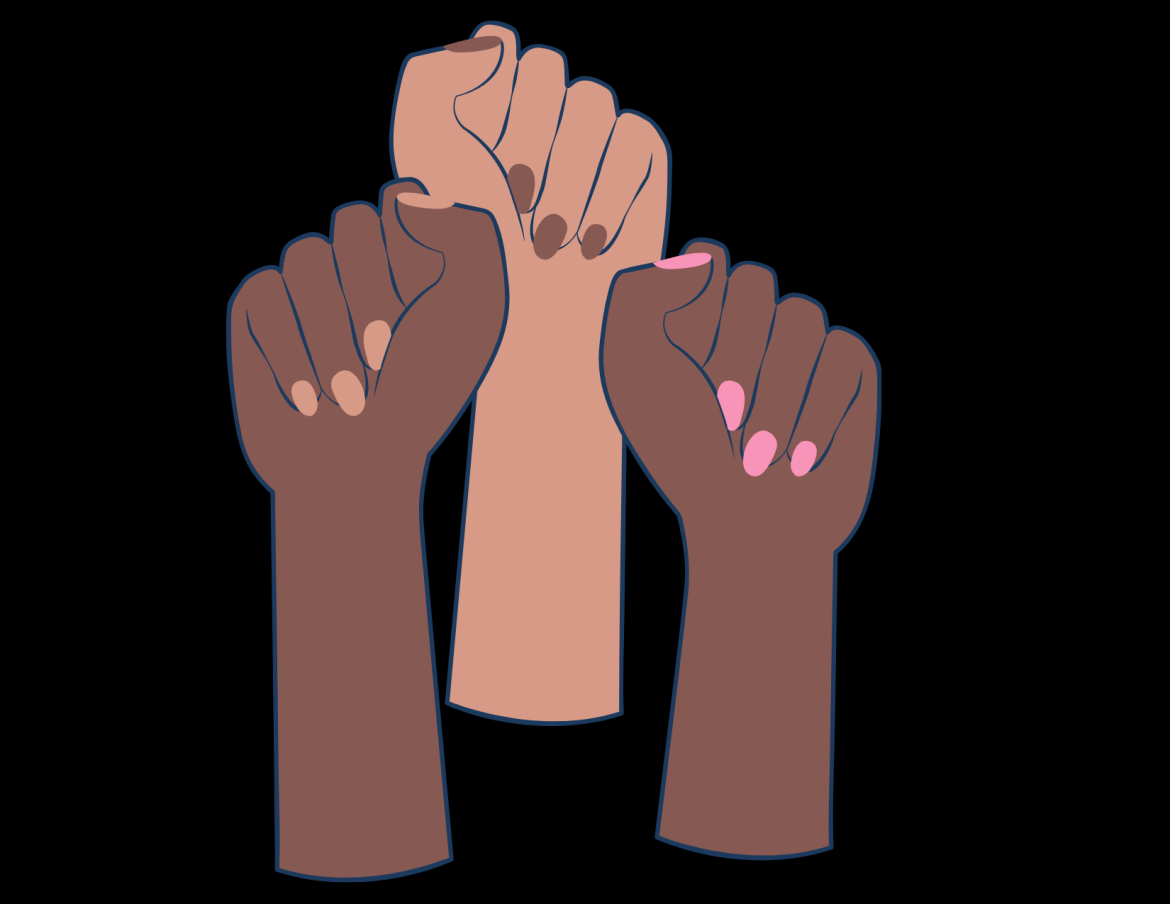 Brown fist are raised in solidarity against a black backdrop