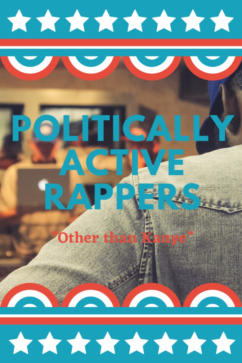 """he text """"Politically Active Rappers"""" in Bold blue Text and the Text """"other than Kanye"""" with a image of a artist in a studio session as the background and bordered with stars and red white and blue stripes"""""""