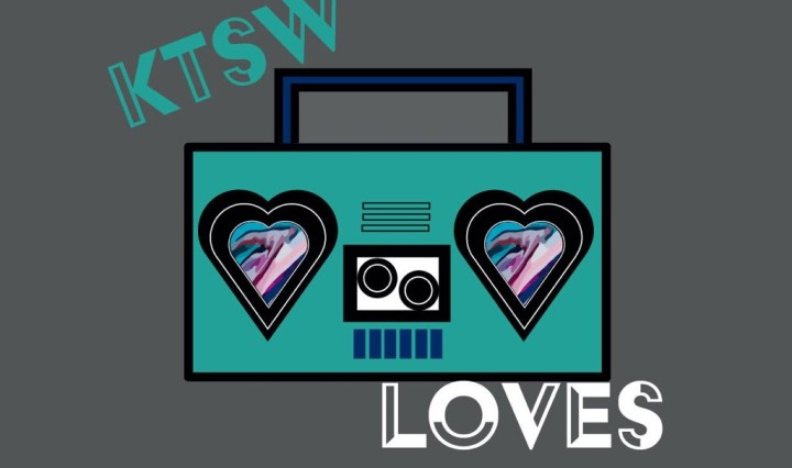 grey backgroubnd with boom box and ktsw loves in teal