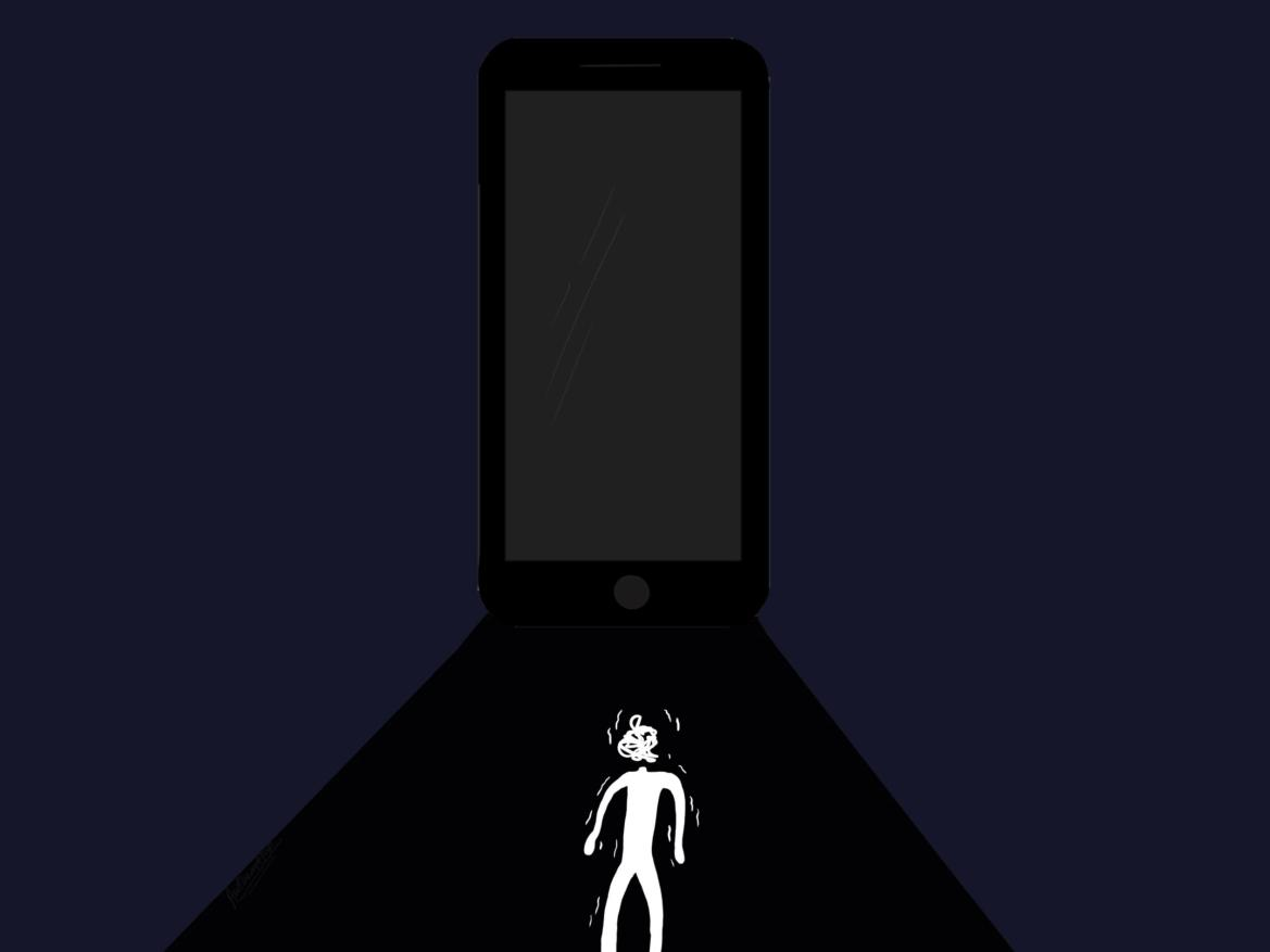 A blue background with a black phone and a little white figure.