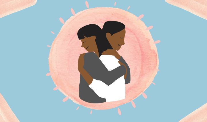 drawing of two women with dark skin embracing each other and hugging