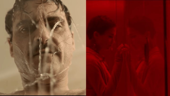 Ava in a red room from Ex Machina and Theodore in the shower looking troubled from Her.