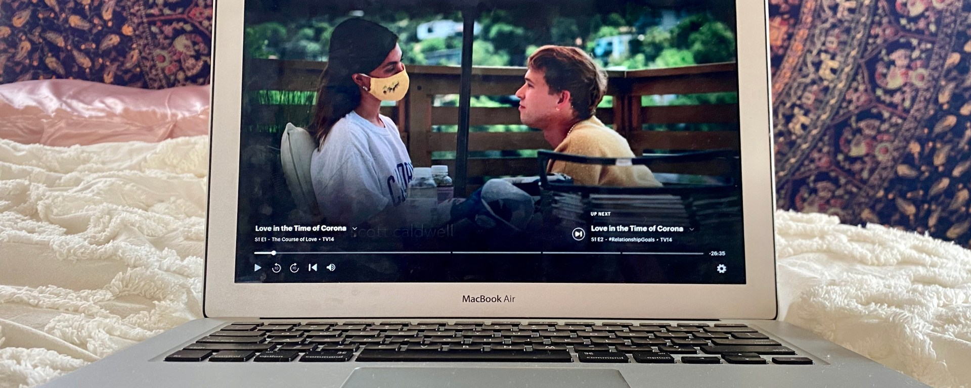 picture of a computer screen displaying episode 1 of Love in the Time of Corona