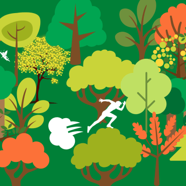 Person running through the forest.