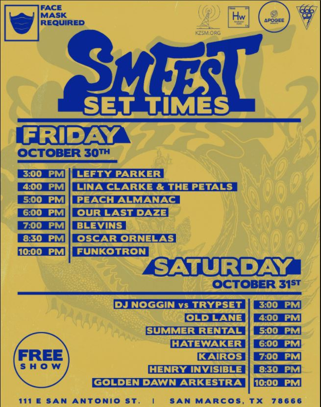 yellow poster with SM Fest set list