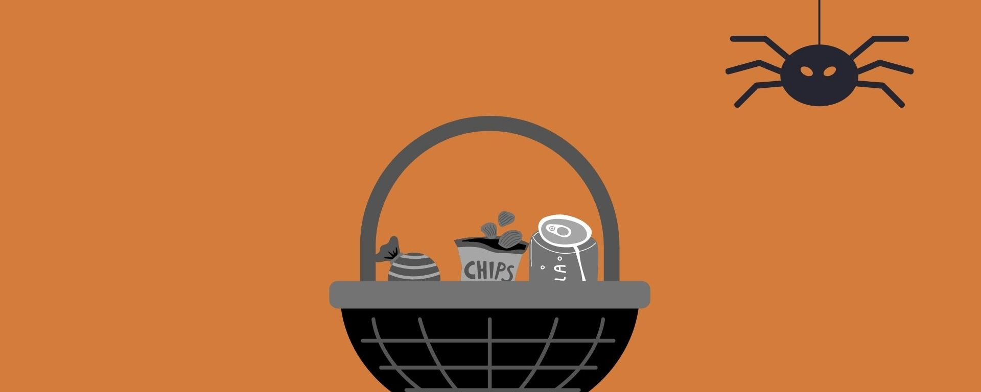 An orange background with a black and white basket filled with goodies and a black spider hanging from the top of the image