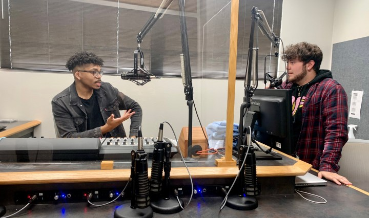 Christopher Brocker and Gage Sutton at the KTSW studio