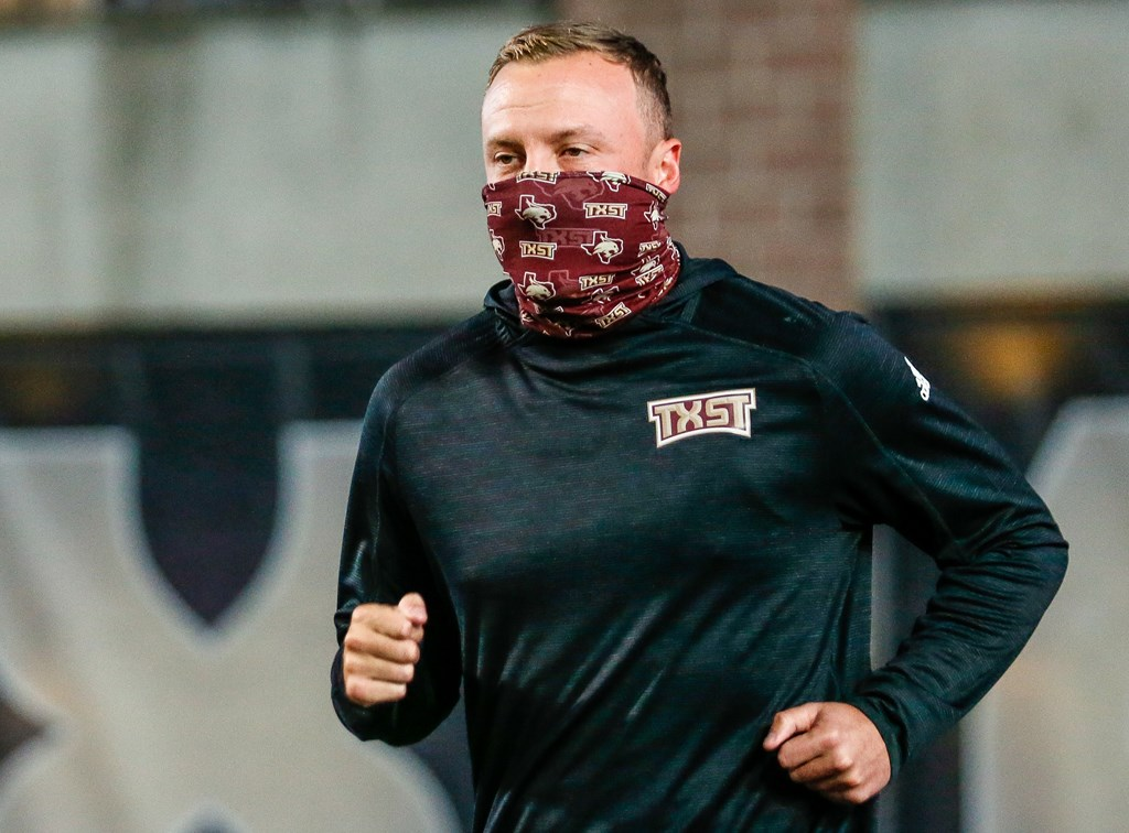 Texas State Coach Jake Spavital at the Texas State versus Louisiana-Lafayette game.
