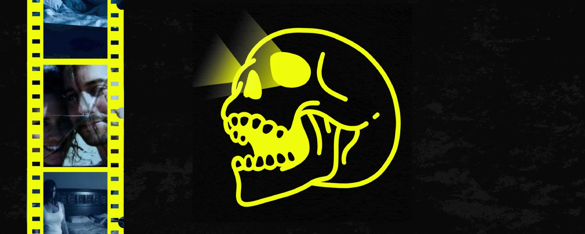 black background with yellow skull in the middle with real of movie scenes on left side