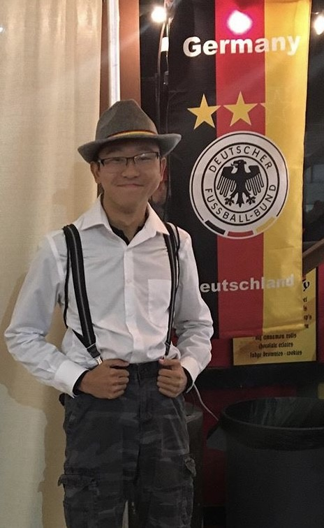 Me standing next to a World Cup German flag