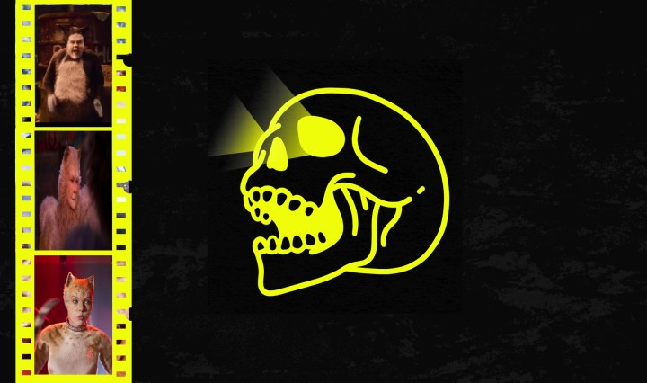 black background yellow skull and yellow film reels with clips from cats