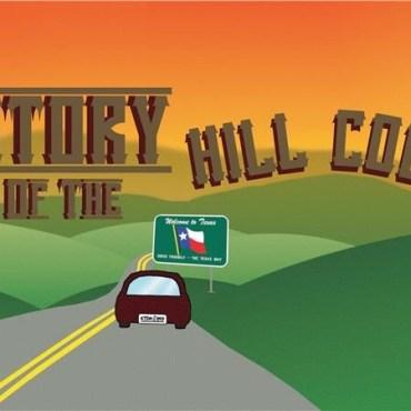 road that leads toward a horizon surrounded by green hills and a car on the road. with history of the hill country across the image