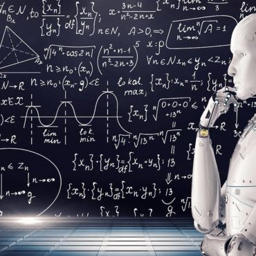 Photo showing a metallic robot with one arm raised to its chin seemingly in a thinking position with math formulas in the background on a blackboard