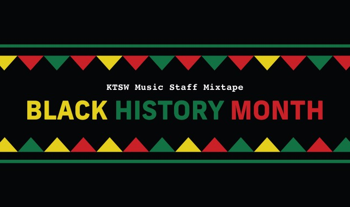 black background with green yellow and red banner around white ktsw music staff mixtape and yellow black green history and red history month