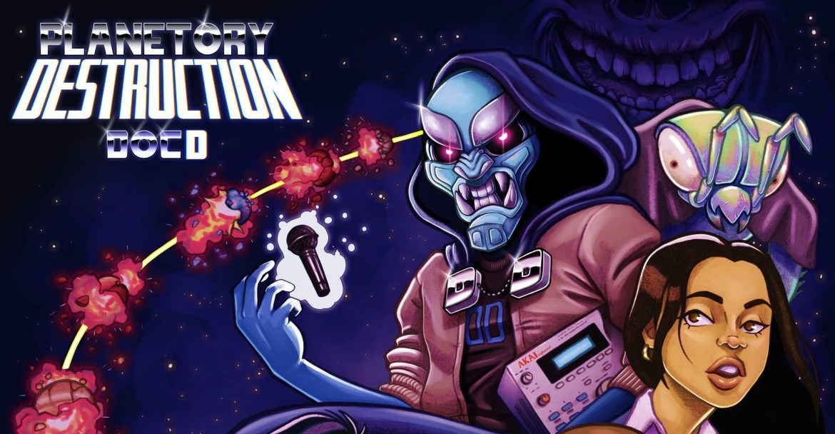 """The cover art depicts the Doctor Destruction character alongside the characters that make an appearance in the album such as DJ Buck Naked, Kyle, and Sharon, around them is a spaceship that's going through planets referencing the album's title """"Planetory Destruction"""""""