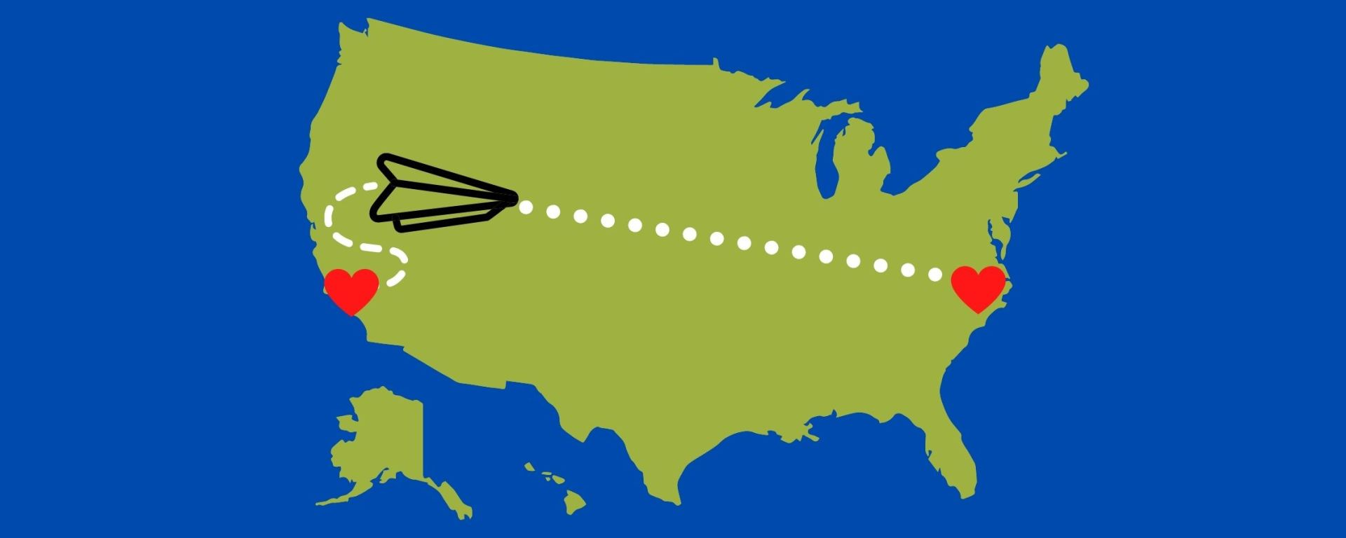 Map of the United States with a paper airplane being mailed from one heart to another representing a long-distance relationship.