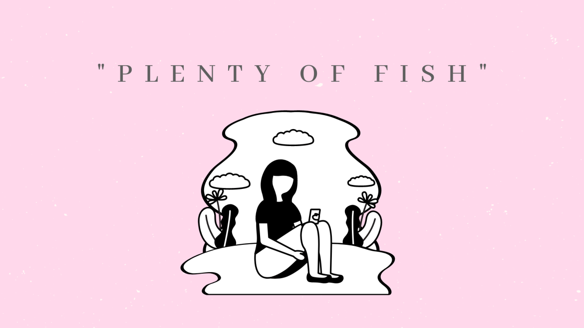 """An image of a single woman on her phone and """"There's plenty of fish"""" text above her."""