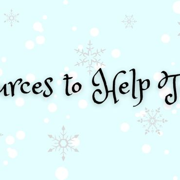 blue with white snow flakes background with black text