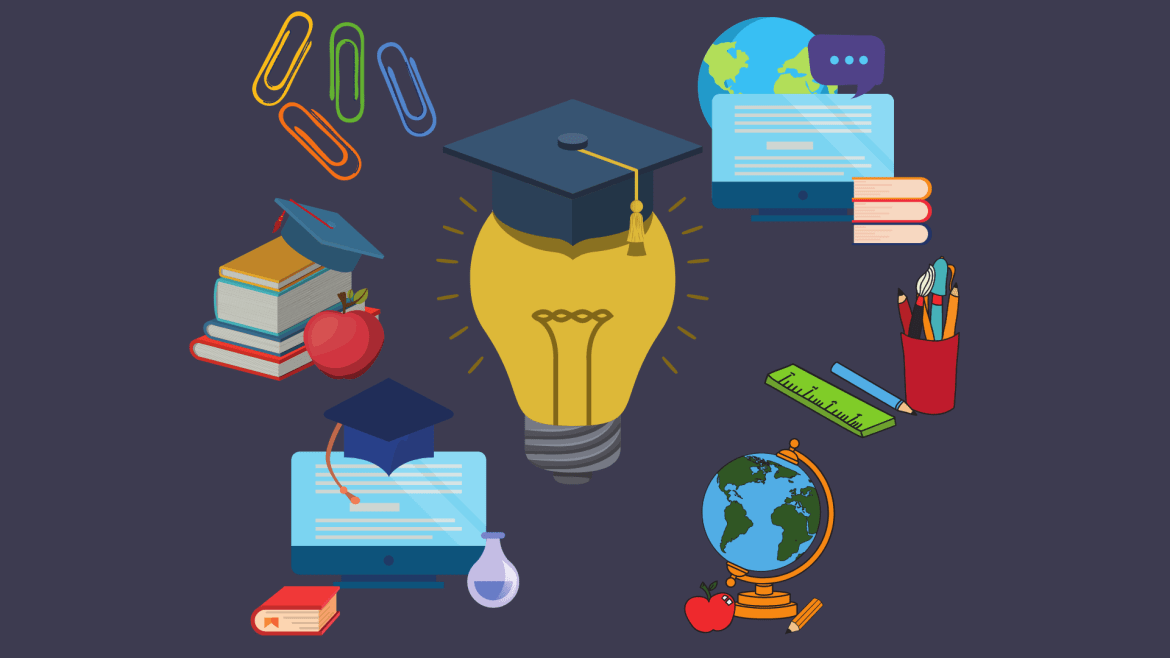 Illustration of a lightbulb, and various cartoon drawings of items such as books, computers, and graduation hats surrounding it.