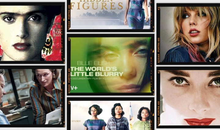 Image of movie posters from Frida, The World's a Little Blurry, the Post, Audrey, Hidden Figures, and Miss Americana