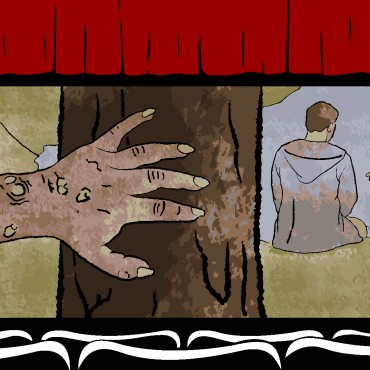 movie theatre graphic with scene from no body sleeps in the woods tonight