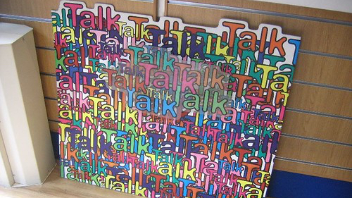 Photo showing the word talk being displayed numerous times in different colors such as green, yellow, blue, red, purple and so on